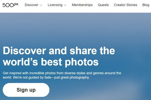 500px Photography Website